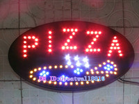 Wholesale 19x10 Oval Led outdoor open PIZZA sign light LED OPEN display SIGN board support DIY and mix item