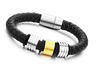 Wholesale Men s Real Leather Wrist Bracelet With Magnetic Clasp quot mm Black leather gold plated charm bangl