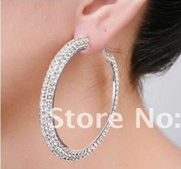 Wholesale Silver polish double row mm mm Basketball wives hoop earrings crystals