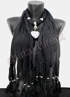 Heart, Love Long Woman Plain Solid color Pendant Scarf Neck Scarves jewelry NECKLACE PENDANTSCARF 14pcs lot #1738