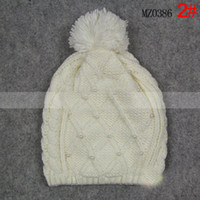 Wholesale 2016 Limited Special Offer No Brand Red Car Styling Brazilian Virgin Hair Pearl Knitting Wool Hat Women Color Autumn Winter To Keep Warm