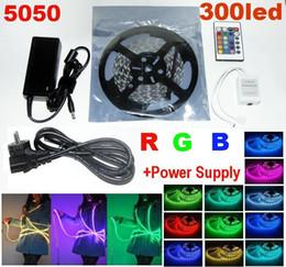 Free DHL 5050 SMD RGB LED Strip Light 60ledS M non Waterproof led light strips + Power Supply +24 Key Remote IR Controller
