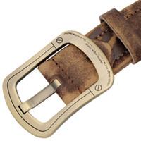 Wholesale Vintage Mens Western Leather Belt Needle Gold buckle Brown Genuine Steel Strong man BOSSANJERASU