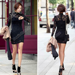 Wholesale New Women s Long Sleeve Polo Neck Sexy Clubwear Party Cocktail Lace Mini Dress