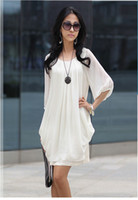 Wholesale New Dresses Sexy Women s Sweet OL Temperament Round Collar Dress ladies chiffon Dresses Party Dress
