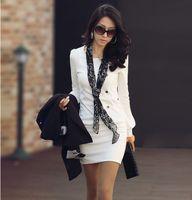 korean - HOT Korean Women Slim thin OL fashion solid color round neck long sleeved dress black Office Mini Dress
