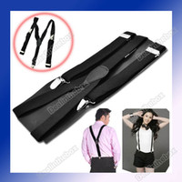 Wholesale Clip on Adjustable Unisex Pants Y back Suspender Braces Black Elastic Belt