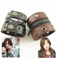 Wholesale Cool Mens Punk Genuine Double Leather Wristband Bracelets Multicolor Best Quality Stock