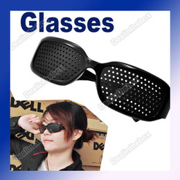 Wholesale Unisex Eyesight Vision Improve Plastic Pinhole Glasses Eyes Exercise Black