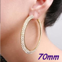 Wholesale Big Hoop Earrings Rows Basketball Wives Crystal Gold Polish MM Free Ship Pairs JE7017G