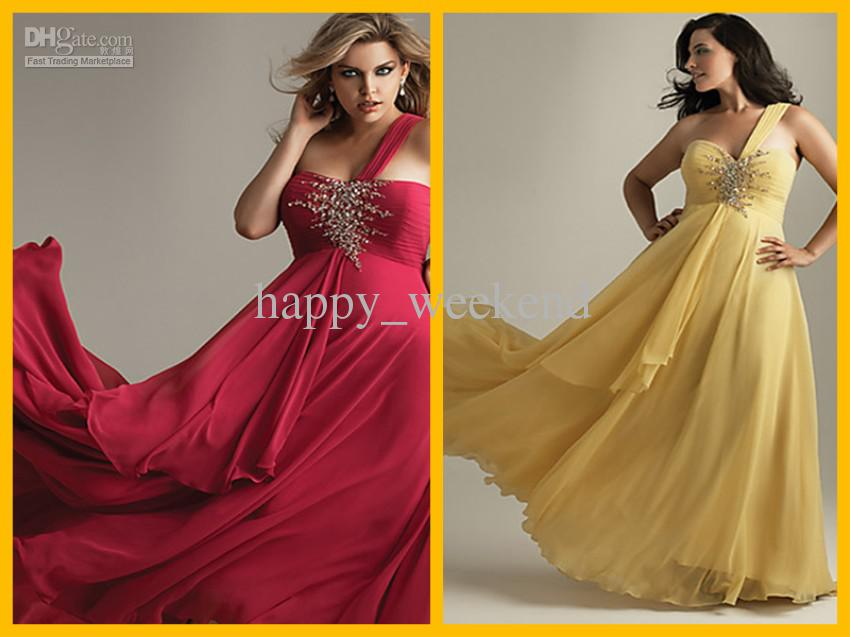 One Shoulder Red Prom Dresses Plus Size See larger image