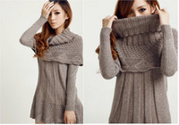 Wool Round Knee Length winter women long sleeve dress Shawl collar 3 color available