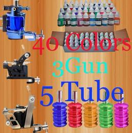 Wholesale 40 Bottle Color Inks Guns Tattoo Kit Rotary Machine Regular Machine Tube Grips New