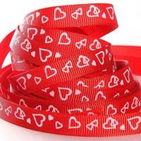 Wholesale quot hearts printed ribbon love grosgrain ribbon red HR001