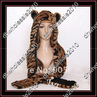 Wholesale 2012 NEW SPIRIT FLUFFY PLUSH ANIMAL HOOD HATS WITH LONG SCARF AND MITTENS TIGER r4fv