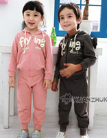 Wholesale korea boys girls wing suits letter sweater pants zipper hoodies casual suits cute out wear hzggyyh