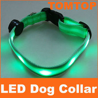 Wholesale Green light LED Dog Pet Flashing Light belt flash light Safety dog Collar H4488GR