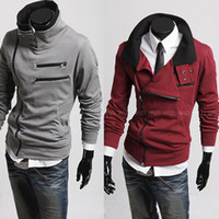 Wholesale new fashion Autumn winter Korean men s slanting zipper slim Long sleeve jacket coat colors