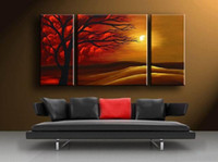 Wholesale Framed Oil Wall Art Dec Sunset Art Wall Canvas Art Modern Abstract Canvas Oil Painting AB