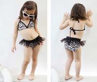 Wholesale new VIVO BINIYA Girls swimwear kids Swimsuit Zebra swimsuit three piece set with cap
