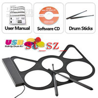 Wholesale Cool kids electronic musical instrument USB Drum Gadget USB ROLL UP DRUM PC network notebook