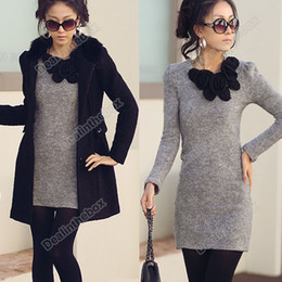 Wholesale New Fashion Mini Long Sleeve Butterfly Flower Woollen Short Skirt Dress