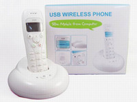 Wholesale 2 Ghz Wireless Cordless VoIP USB Skype Phone with Dot Matrix Graphic LCD Handset Handfree Telephone