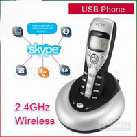 Wholesale USB Skype Phone M Wireless VoIP Large Dot Matrix graphic LCD Cordless Handset Handfree Telephone