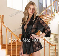 sexy fashion pajamas - Fashion Sexy Lingerie Black Satin Lace Robe Perspective Pajamas NEW Hottest free shopping