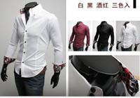 Wholesale New fashion men silk goods intersperse pattern long sleeve shirts colors