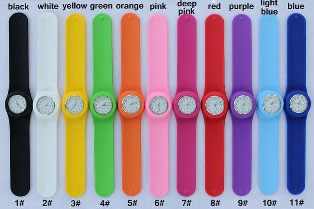 quartz mixed color slap watches silicone snap on watch sport fashion for men women watches chronograph watches cheap designer watches from - Color Watches