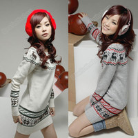 Women christmas jumpers - New Soft Women knit Sweater dresses Pullover Jumper Top Snowflake Deer Adeal