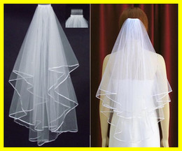 Wholesale Hot Sale In Stock Two Layer White Ivory Wedding Bridal Veils Pearls Ribbon Edge Comb Veil