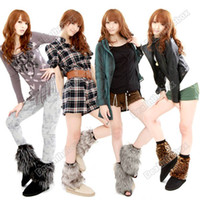 Wholesale 2 x cm Women Faux Fur Lower Leg Shoes Ankle Warmer Boot Sleeves Cover multi colors