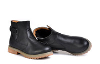 Wholesale Men leather shoes head layer cowhide two layer rubber sole fur inside black fashion