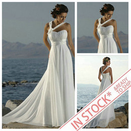 Wholesale IN STOCK White Ivory Hot Sale Cheap Bridal Wedding Dresses Beach Bridal Gowns