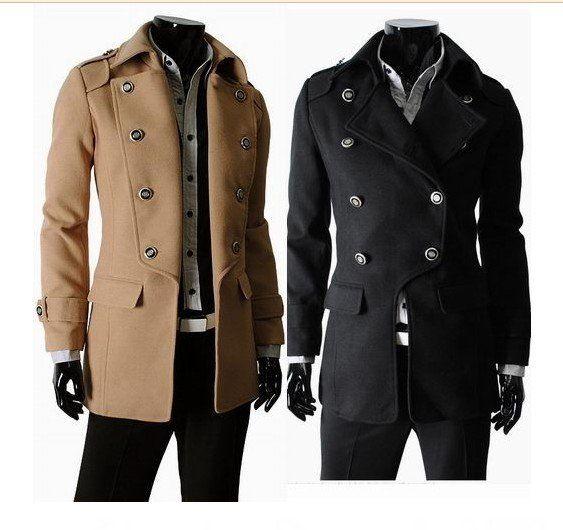 Hao_bag Mens Trench Coat Men's Duffle Coat Unique Double Breasted ...