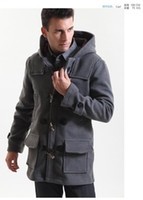 Wholesale New Style Fashion Men Autumn Winter Woolen Coats Boys Long Sleeve Outdoor Hooded Overcoats Youngster Claw Button Thick Windbreaker Outerwear