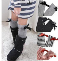 best girls boots - Best selling pieces Busha Girls bowknot stripe Socks children s Kids boots socks Super high quality mix color