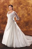 Wholesale Hotsale V neck beaded lace sleeves taffeta wedding dress dresses for bride plus size LWG023