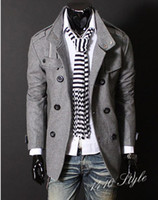 Wholesale 2016 New Fashion Men s Luxury Style Slim Casual Double Button Jacket Coat overcoat Outerwear black gray size M XL Y002