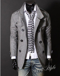 Wholesale New Fashion Korean Men s Luxury Style Slim Casual Double Button Jacket Coat Outerwear