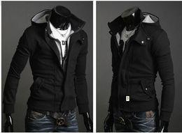 Wholesale 2014 new fashion men s casual hooded cardigan jacket coat overcoat clothing black dark gray light gray