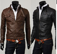 Wholesale 2016 Men s slim Stand Collar Washed Leather Motorcycle Jacket coat overcoat High quality black brown size M XL