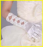 Wholesale Charming White Ivory Pleats Cotton Five Fingers Elbow Length Bridal Gloves