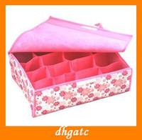Wholesale NEW grid woven folding underwear storage box storage box covered storage box