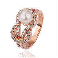 Wholesale Hot new K rose gold ring inlaid crystal pearl jewelry fashion beautiful ladies