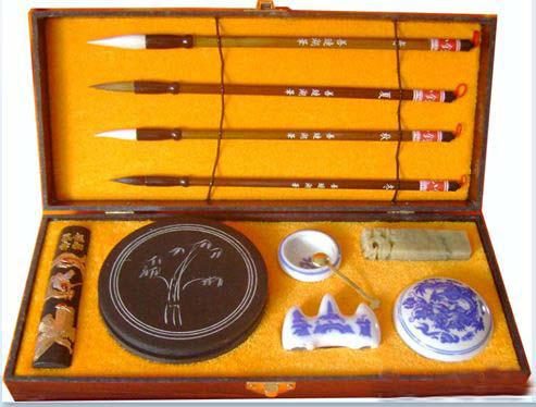 2017 Chinese Calligraphy Set Brushes Ink Case Writing Chop