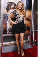 Wholesale Terani C Blake Lively Inspired One Shoulder Dress with Feather Skirt Cocktail Dress