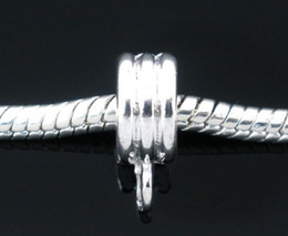 100pcs Silver Plated Rope Bails Beads. Fit Charm Bracelet free shipping
